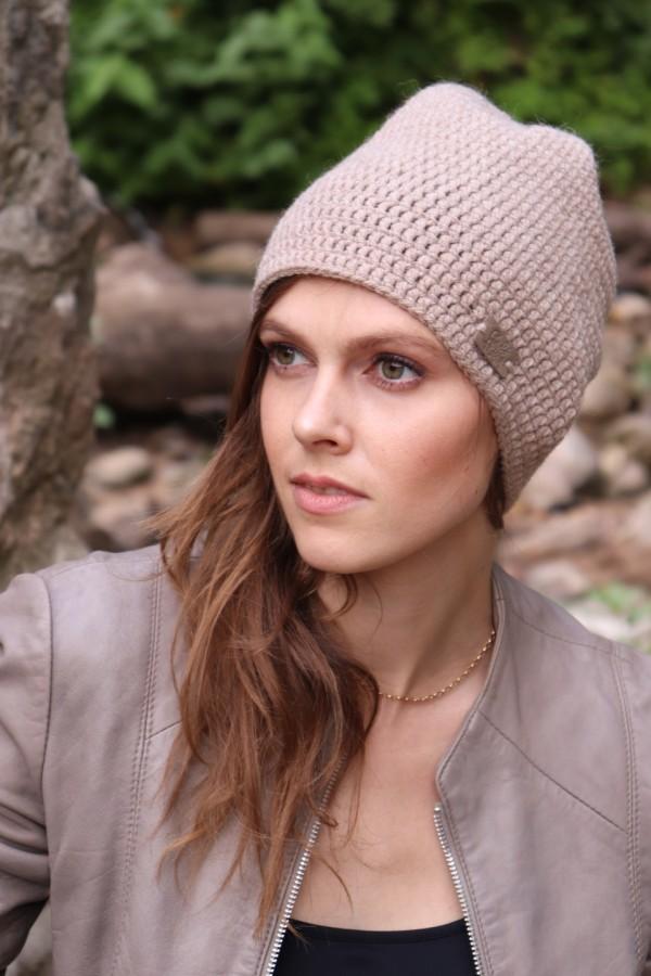 Alpakų vilnos ir vilnos ruda kepurė
